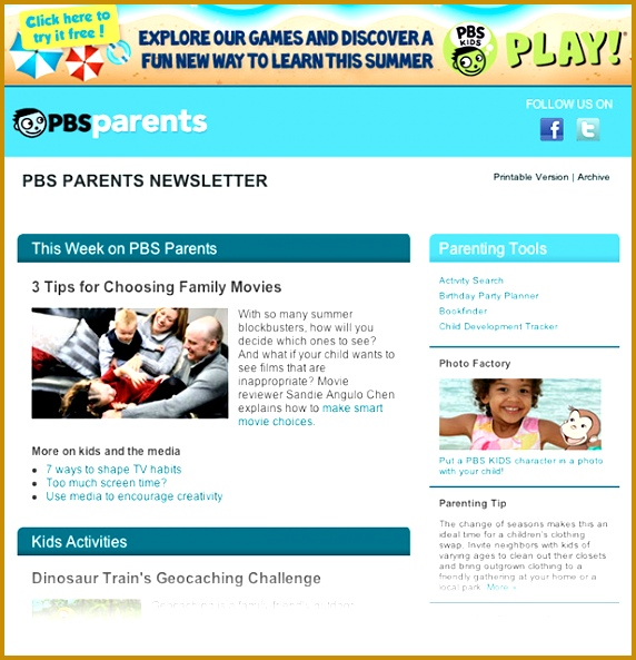 PBS Parents Newsletter Example 593572
