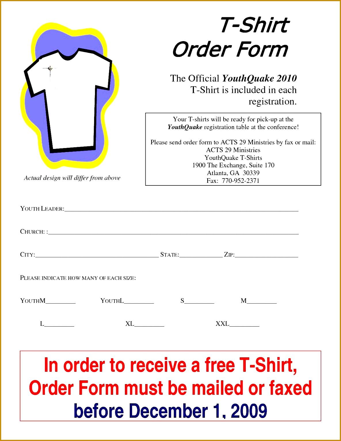 7 Family Reunion T Shirt order form Template | FabTemplatez
