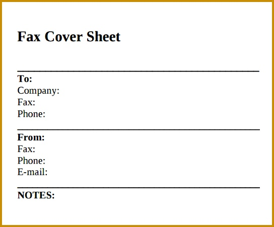 Printable Standard Fax Cover Sheet 451544