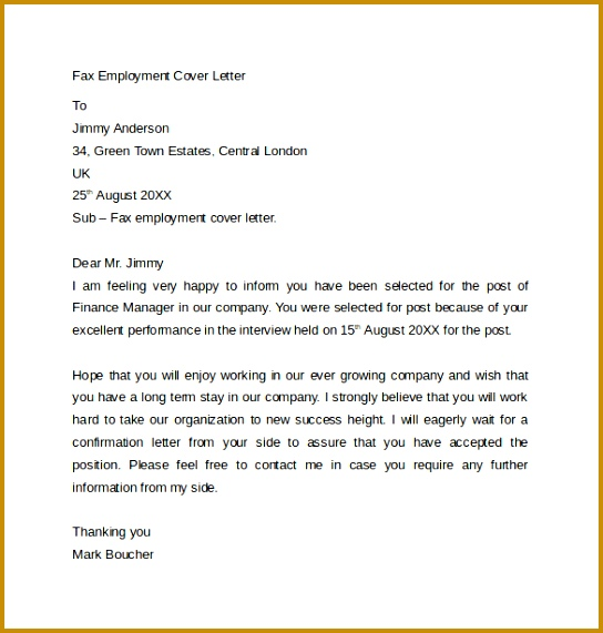 Simple Fax Cover Letter 571544