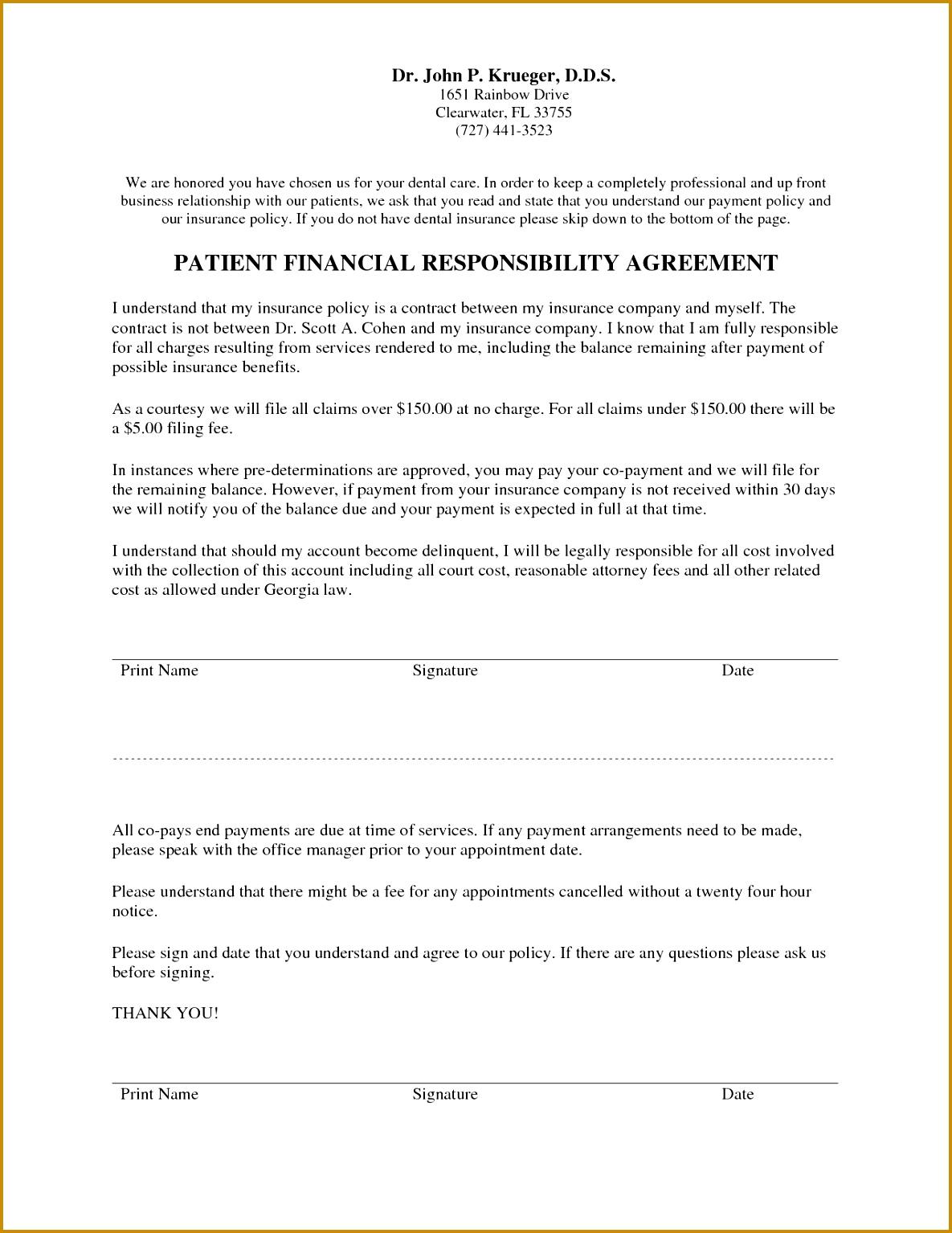 Dental Financial Agreement Template 15341185