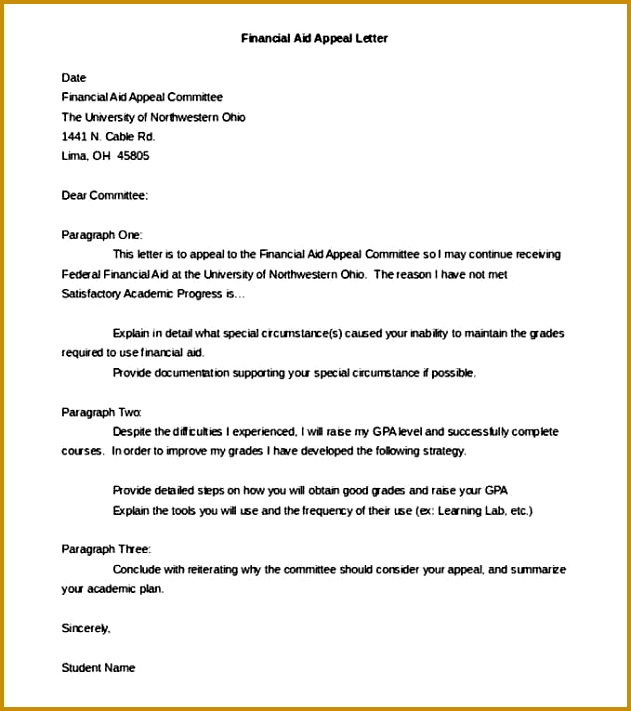 Financial Aid Appeal Letter Template Word Doc 711631