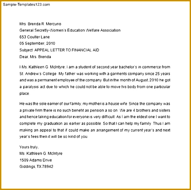 7 Financial Aid Appeal Letter 653657