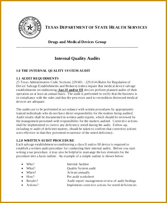 Internal Quality Audit Report Template 678558
