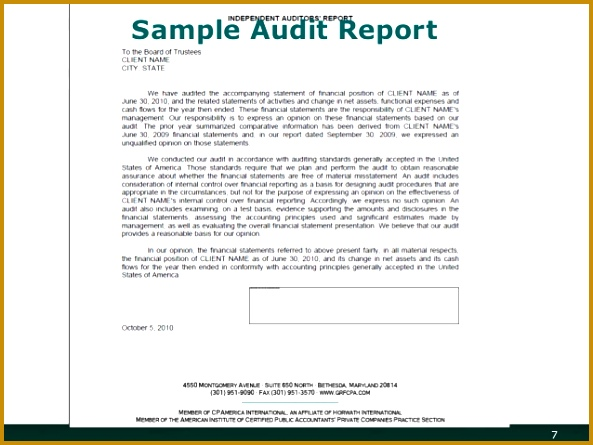 Financial Management and Sample Audit Report Reporting 7 445593