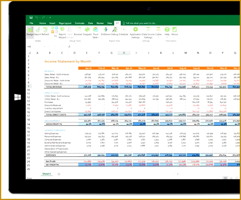 Jet Reports not only es with pre built financial reports and dashboard templates you can use immediately but allows you to easily customize them inside 697837