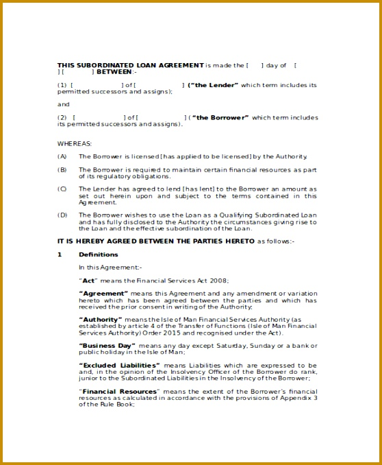 Financial Loan Agreement Template 23352 Loan Agreement Template 9 Free Word  Pdf Document Download ...