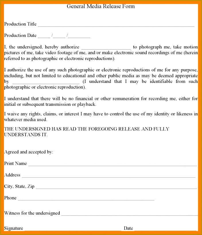 8 media release form template 816704