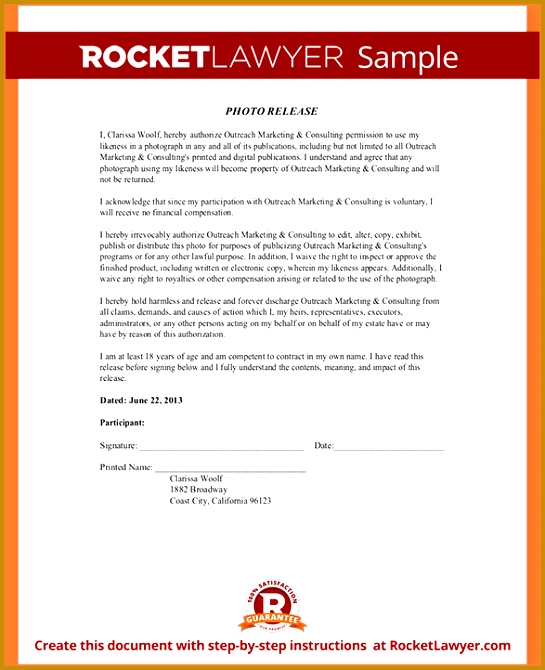Release Form Template Sample Release Form Template 545670