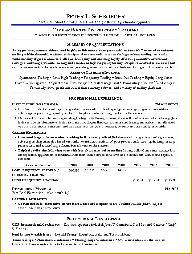 Stock Broker Resume Sample Financial Services Resume Examples 824623