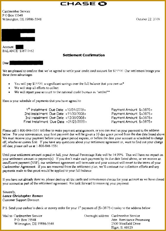 Chase Sample Debt Settlement Fer Letter 558777