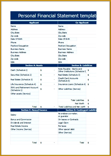 Personal Financial Statement Template 653465