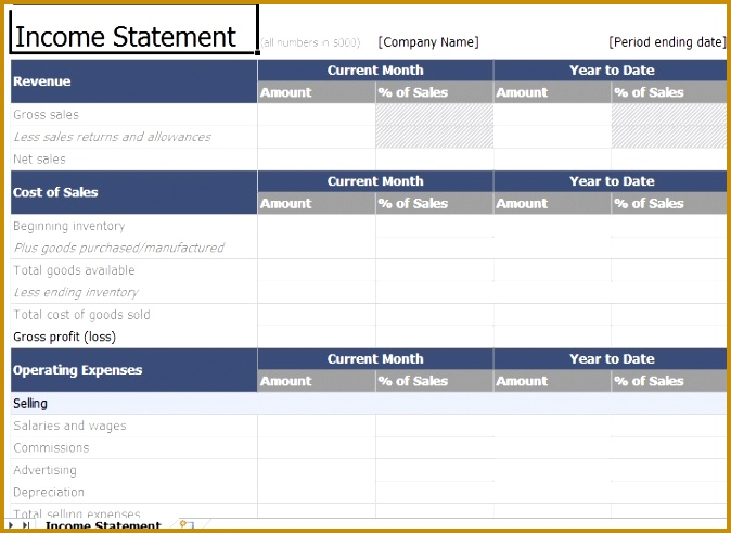 In e Statement Template Excel 674491