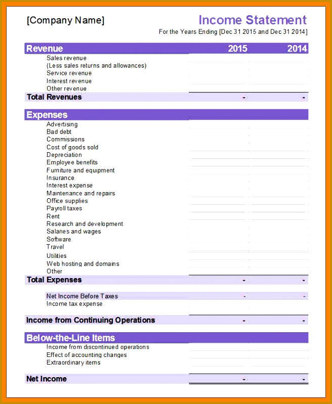 financial statements template excel e statement1 799656
