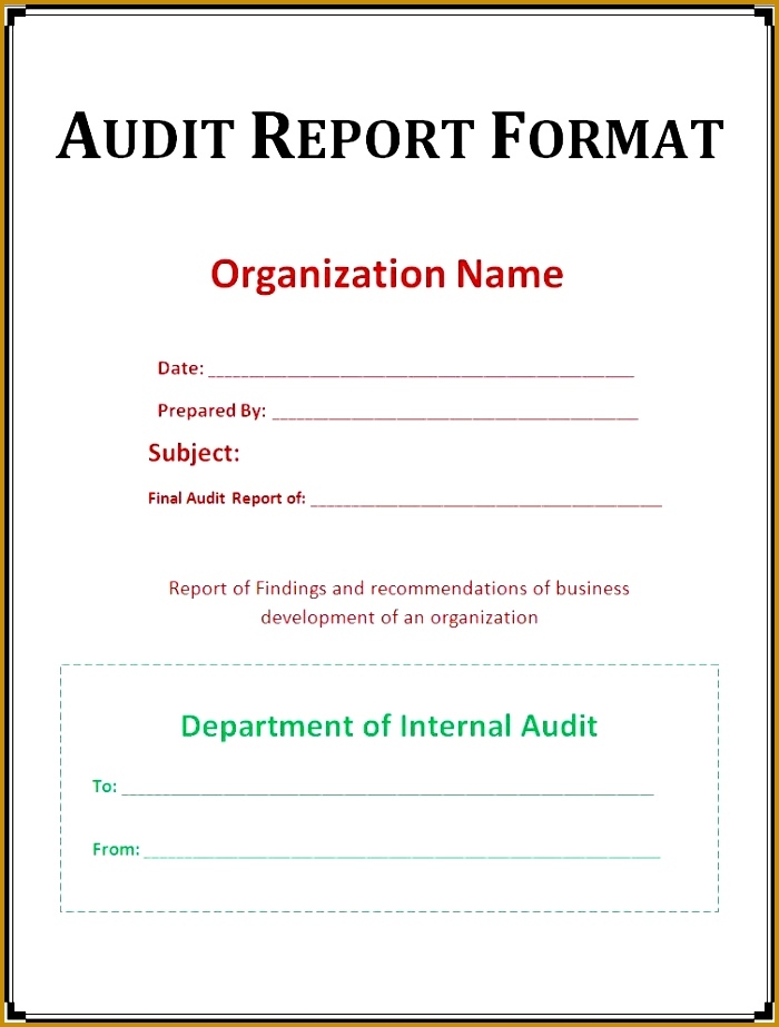 35 Excellent Audit Report Form Template Examples Very Simple Audit Report Format Template Example With 923700