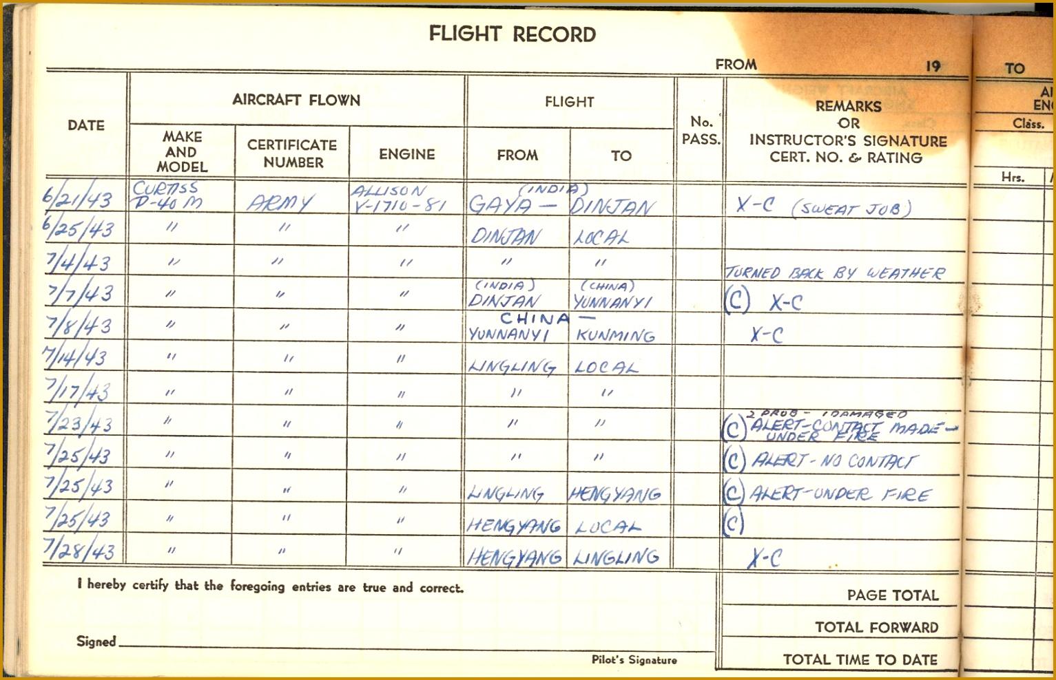 3 Flight Log Book Template