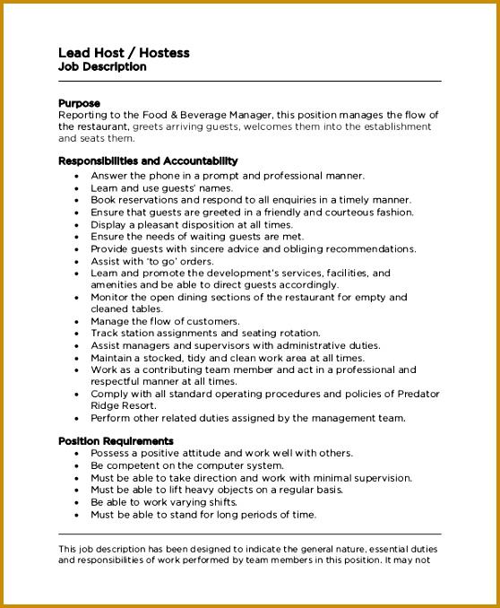 lead hostess job description 558678