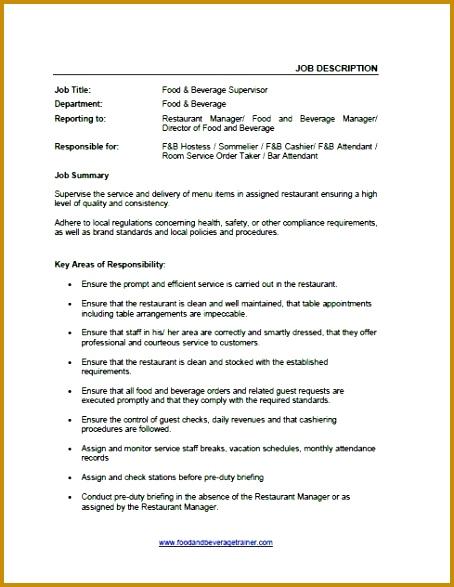 Food and Beverage Job Descriptions 587454