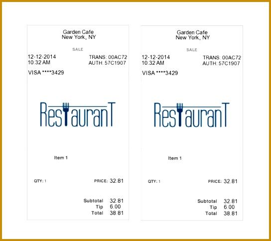 Free Restaurant Receipt Template 484544
