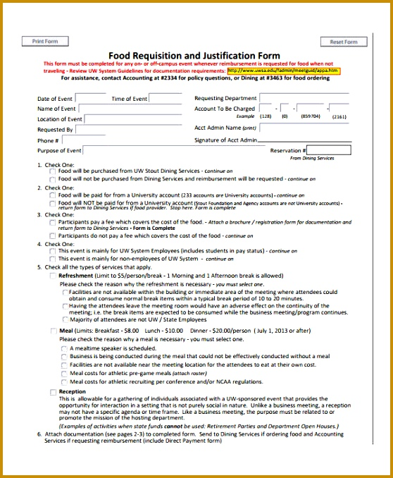 Food Requisition Form Sample 678558