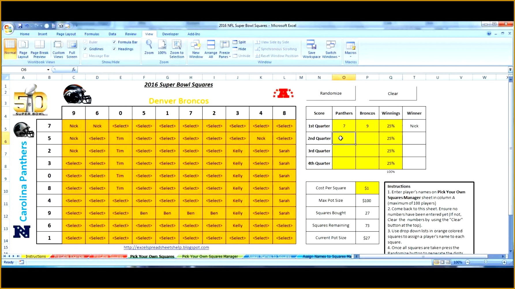 Super Bowl Squares 2016 Excel Template for fice Pools How to Use 17851004