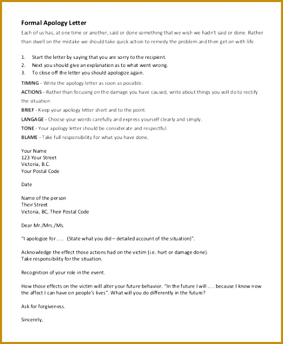 Sample Sincere Apology Letter 5 Documents in Word PDF 678558