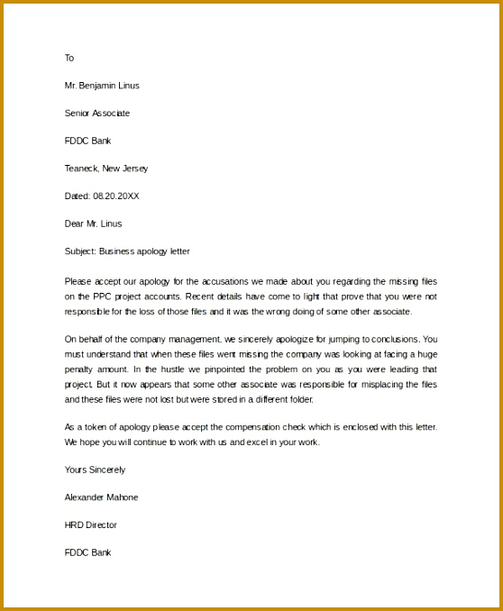 Formal Apology Letters Formal Apology Letter Templates Business 678558