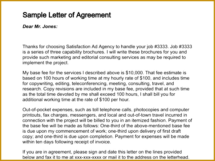 Letter Agreement Sample Free Printable Documents 697522