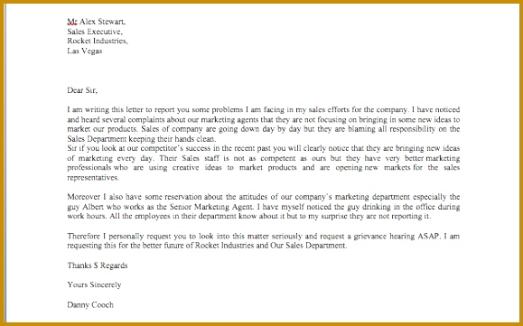 Formal Grievance Letter Template 579361