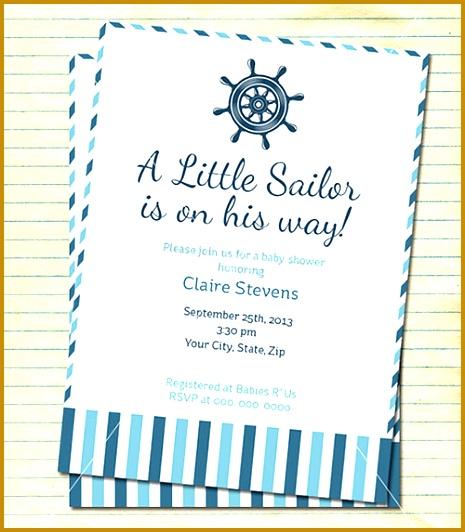 Little Sailor Baby Shower Formal Invitation Template 532465