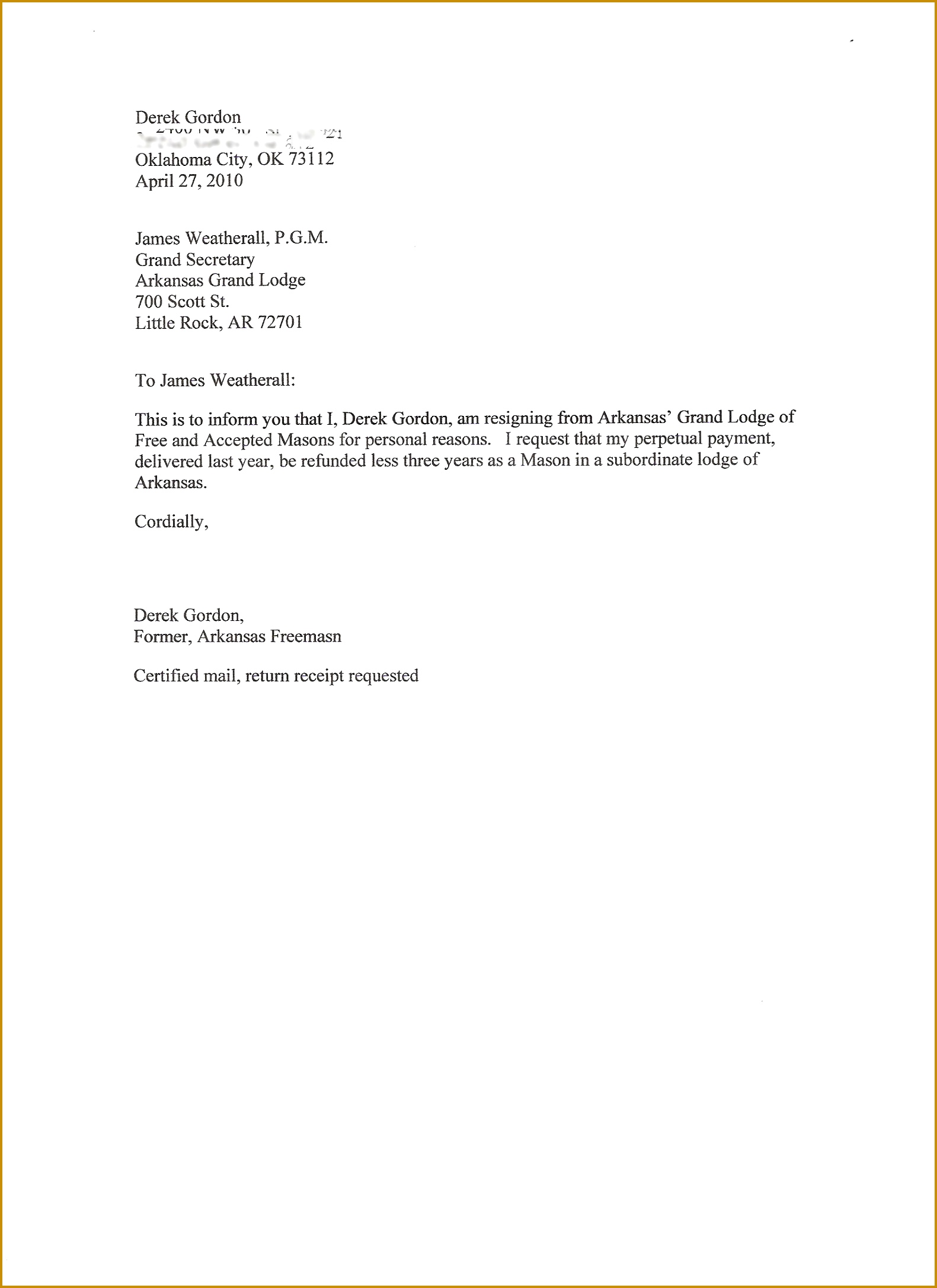 simple resignation letter resignation letter example certified mail Sample A Certified Letter 21741581