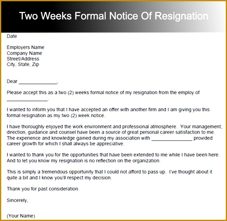 25 Two Weeks Notice Letter Templates 723744