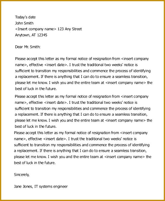 resignation letter sample 2 weeks notice 678558