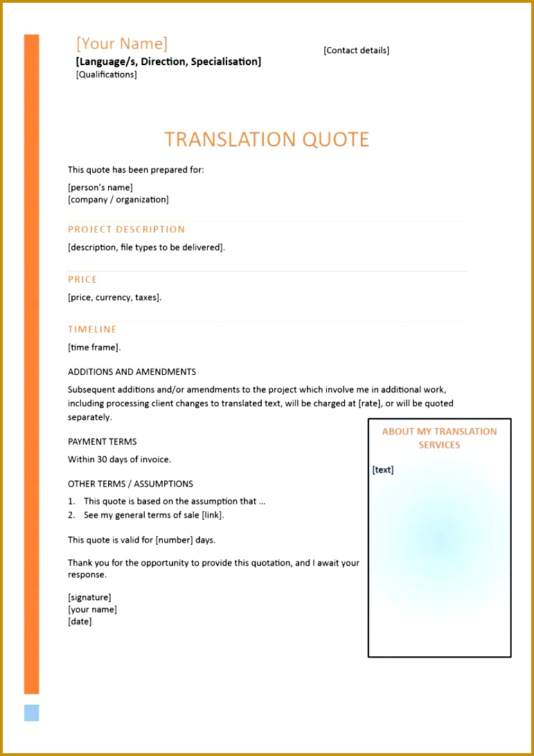 Quote Format Word Residential Specialist Sample Resume Formal Quote Template  78804 Quotation Format In Word Format  Official Quotation Format