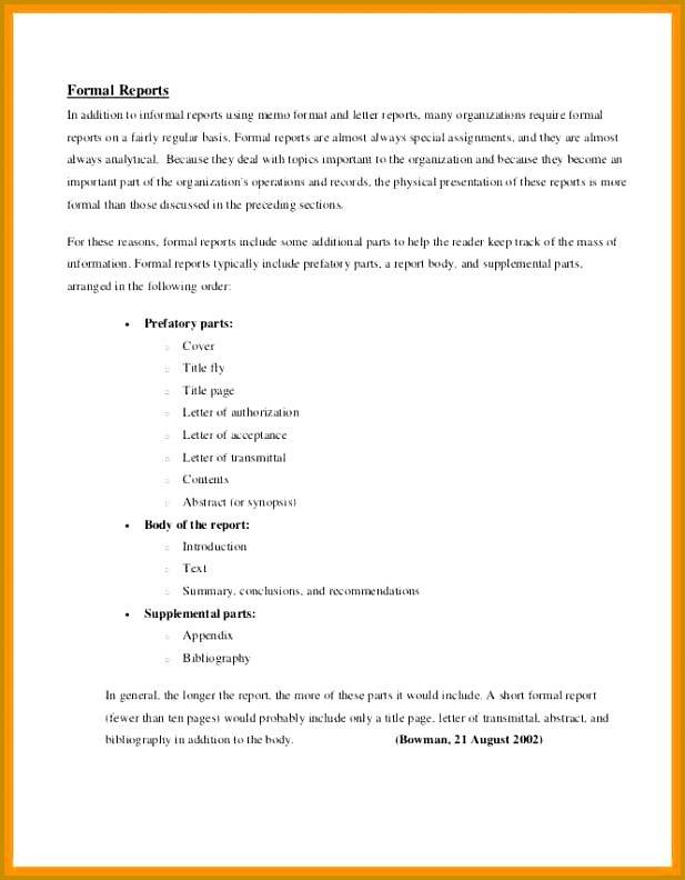 Formal Report Format Template  Fabtemplatez
