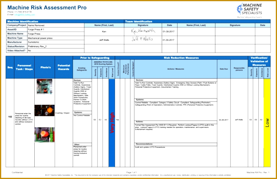 Sample Risk Assessment Produced by Machine RA Pro 614952