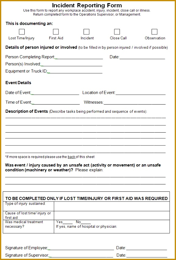 Our author has been published Free printable Incident Report Template 577853