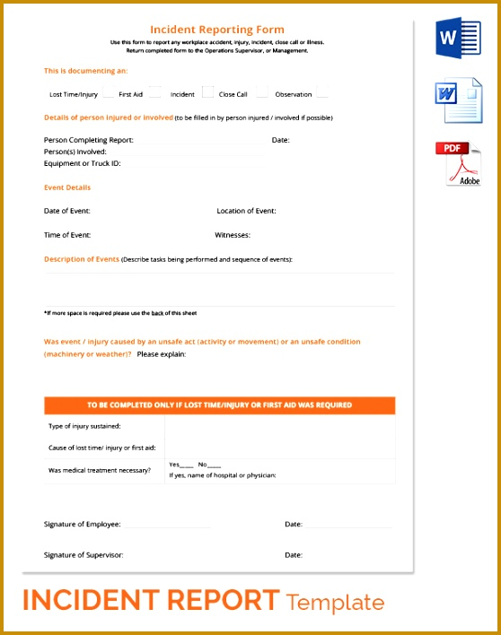 Road Accident Reporting Form Free Download 708558