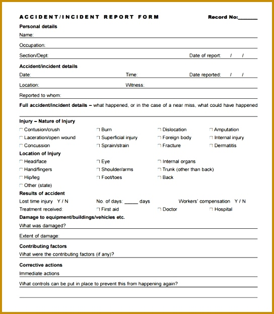 Incident Report Template 33 Free Word Pdf Format Download inside Accident Report Form 623544