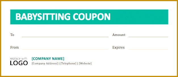 Free Babysitting Voucher Template  Fabtemplatez