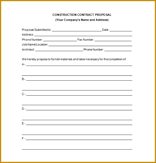 Construction Contract Proposal Word laboutlaw Free Download 544566