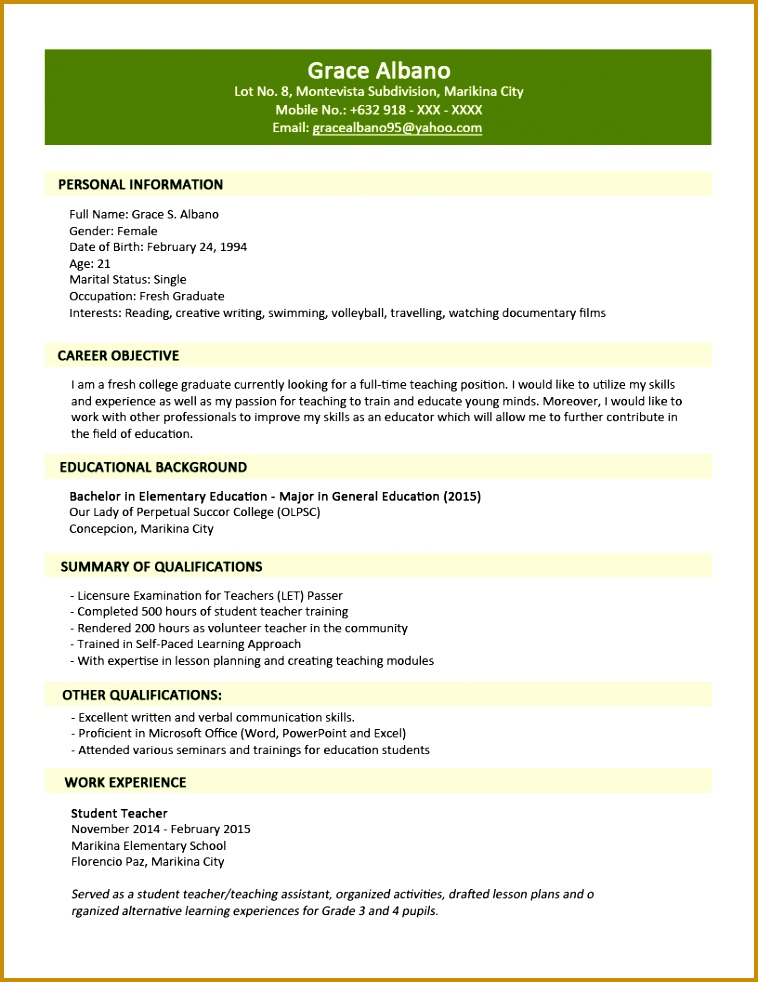 Sample Resume Format for Fresh Graduates Two Page Format 1 1 982758
