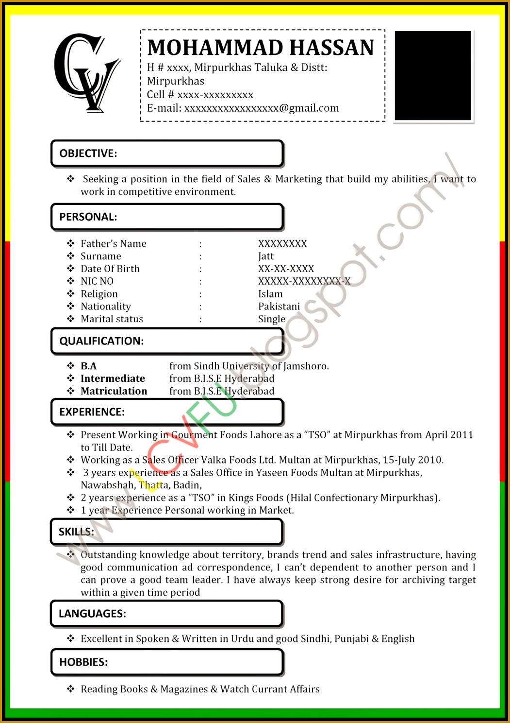 Black CV Format Latest CV format 14881051