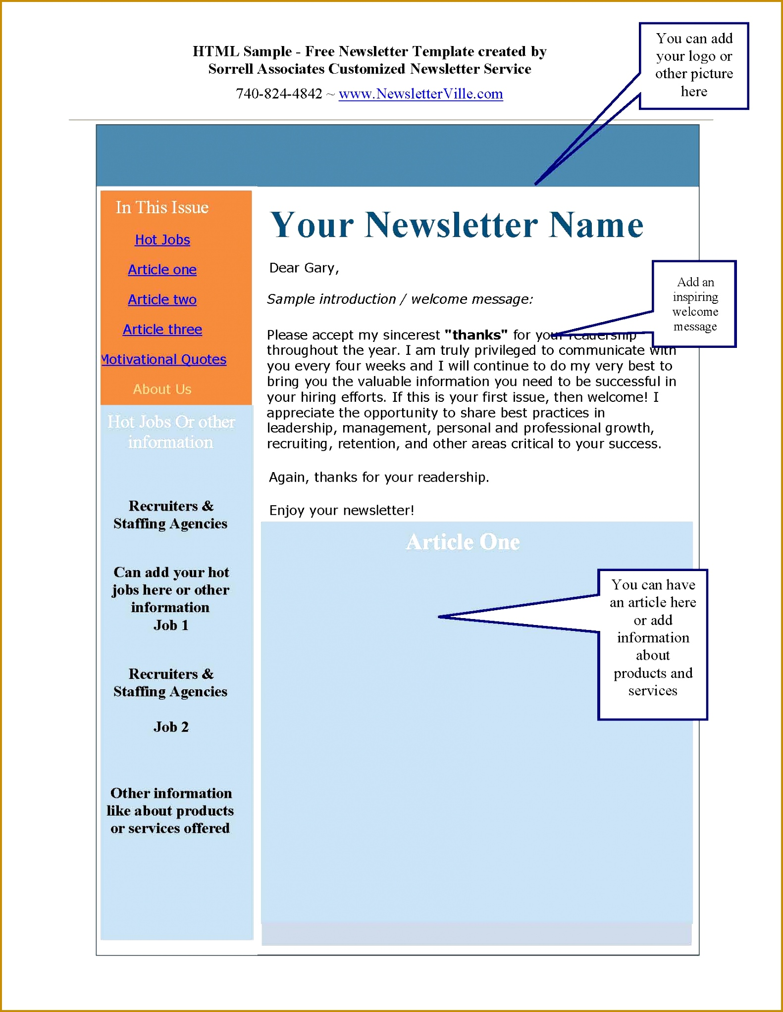 Free Newsletter Template HTML Version 5m Page 1 20451581