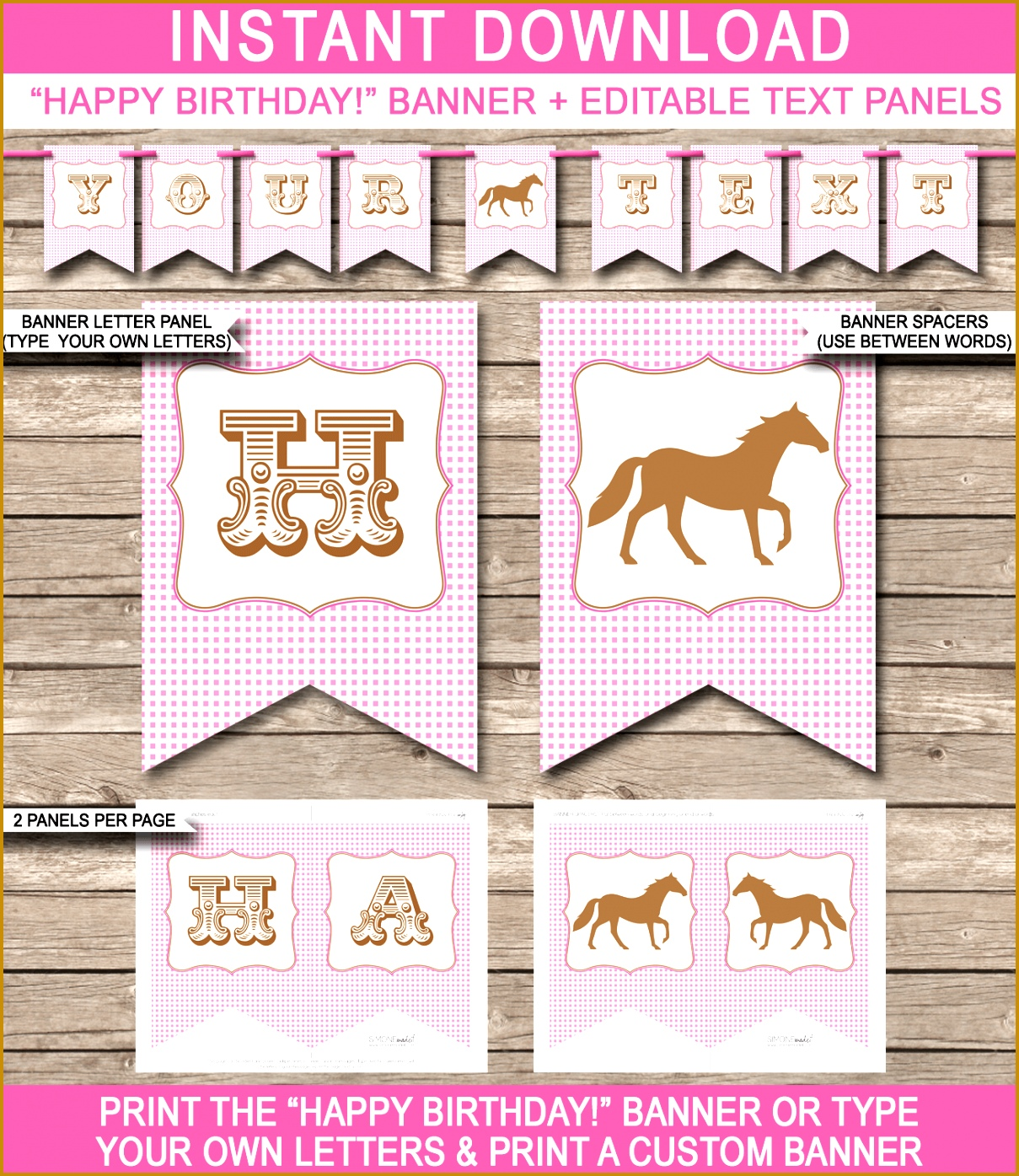 Horse or Pony Party Banner Template Pony Bunting Happy Birthday Banner Birthday Party 13951209