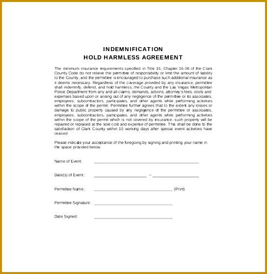 Indemnification Hold Harmless Agreement PDF Format Download 558544  Indemnity Template