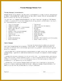 This form informs clients of the contraindications of prenatal massage and releases the therapist of liability This form is meant to be used alongside a 279216