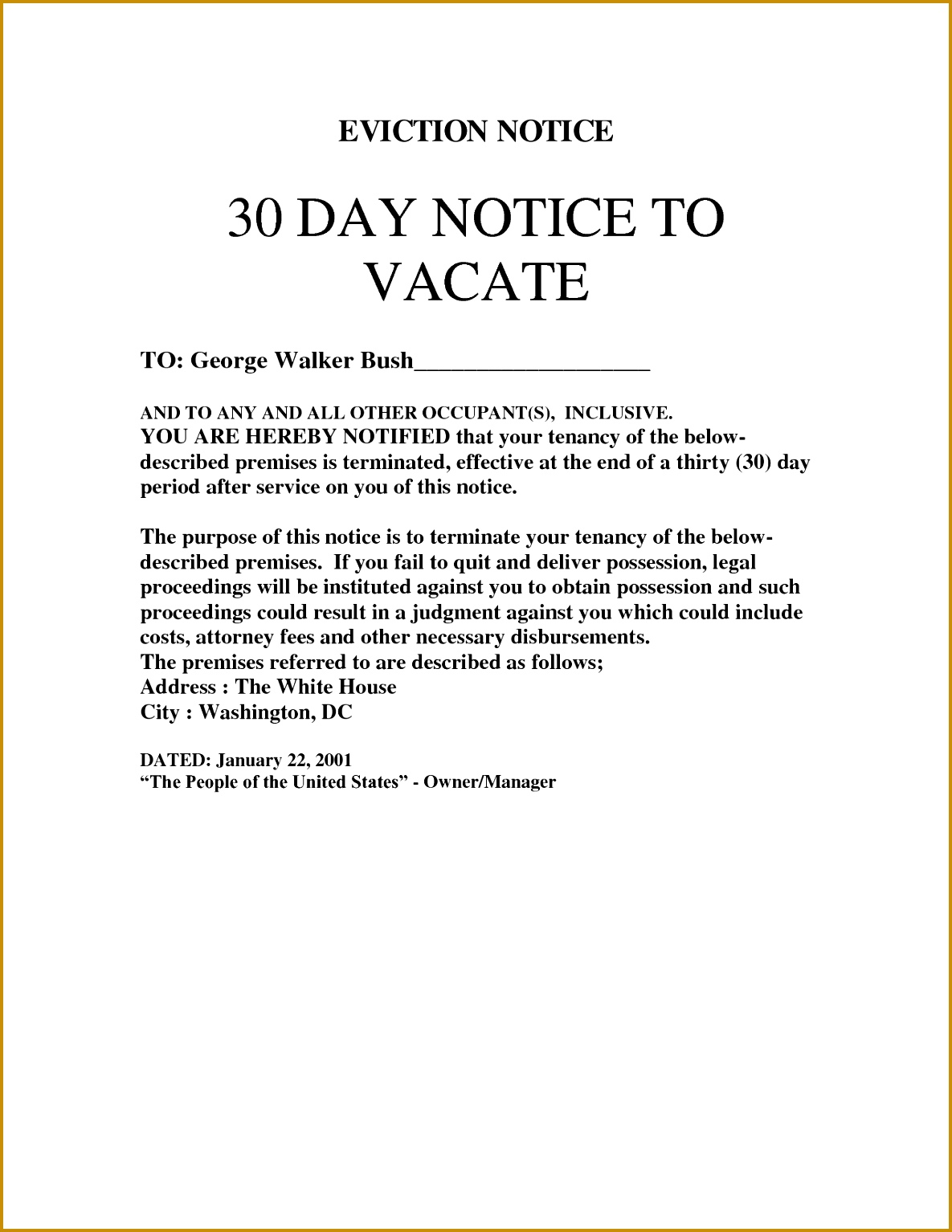 4 Free Notice to Vacate form