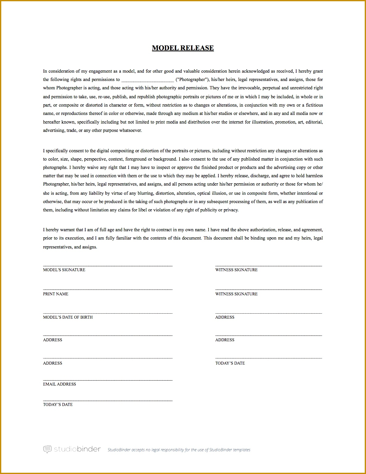 Model Release Form Template StudioBinder 15341185