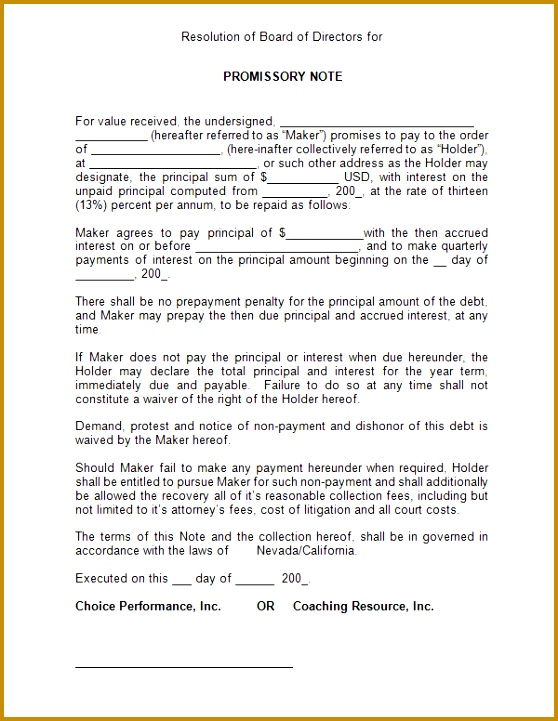 4 Free Printable Promissory Note form